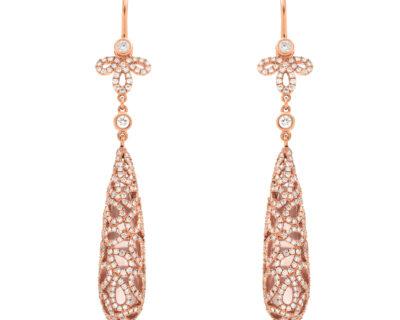 Drop Rose Gold  and Quartz Earrings